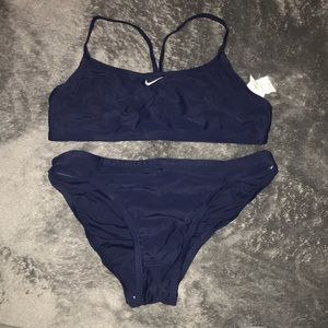 Two piece navy blue sporty swimsuit.